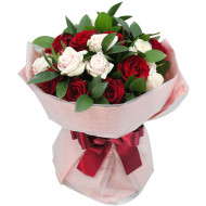 Mix of red and white roses