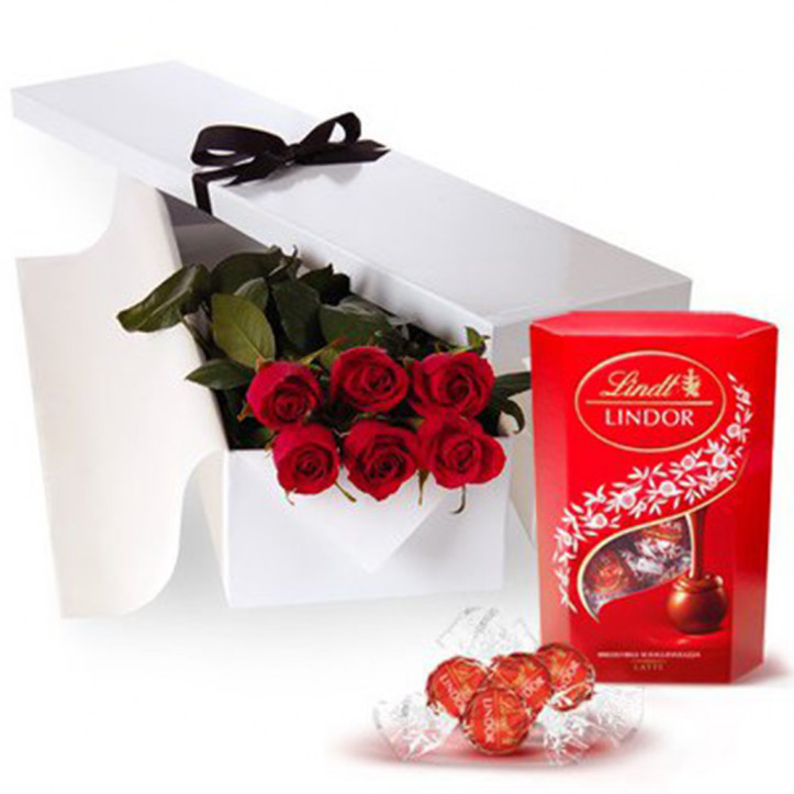 6 Red Roses Gift Box and Chocolates
