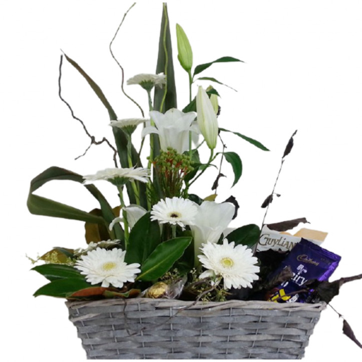 Basket of Flowers and Chocolates