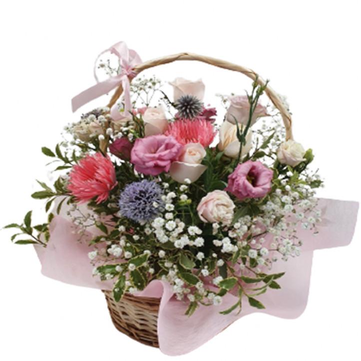 Pink and White Basket Arrangement