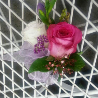 Wrist Corsage White and Pink