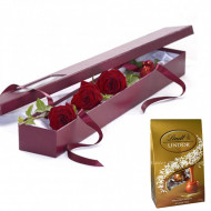 3 Red Roses Gift Box and Chocolates