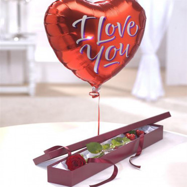Single Rose Gift Box with Stick Balloon