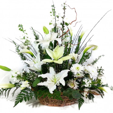 White Lilies Basket